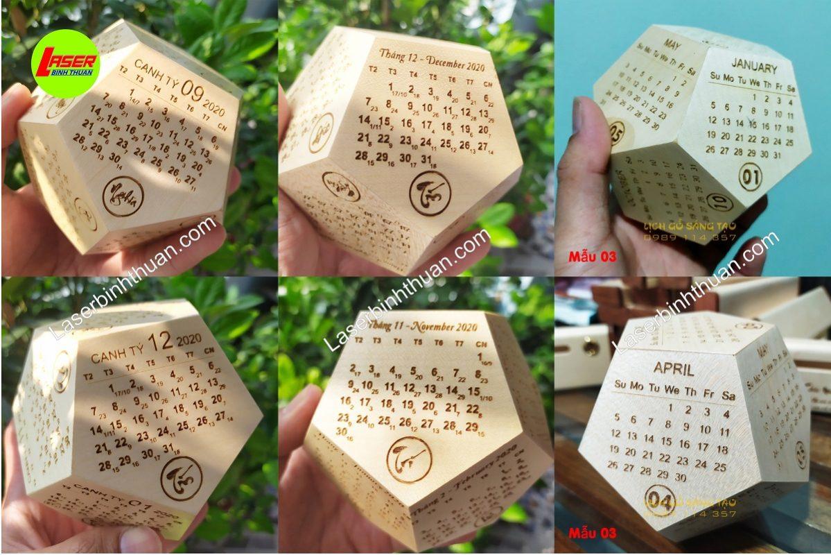lịch gỗ 12 mặt ngũ giác khắc laser