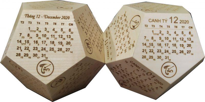 Lịch gỗ 12 mặt ngũ giác gỗ Mapbe khắc laser - Laser Bình Thuận
